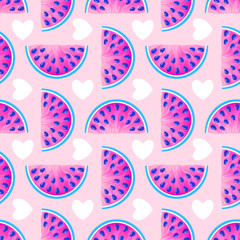 pattern with watermelons and hearts