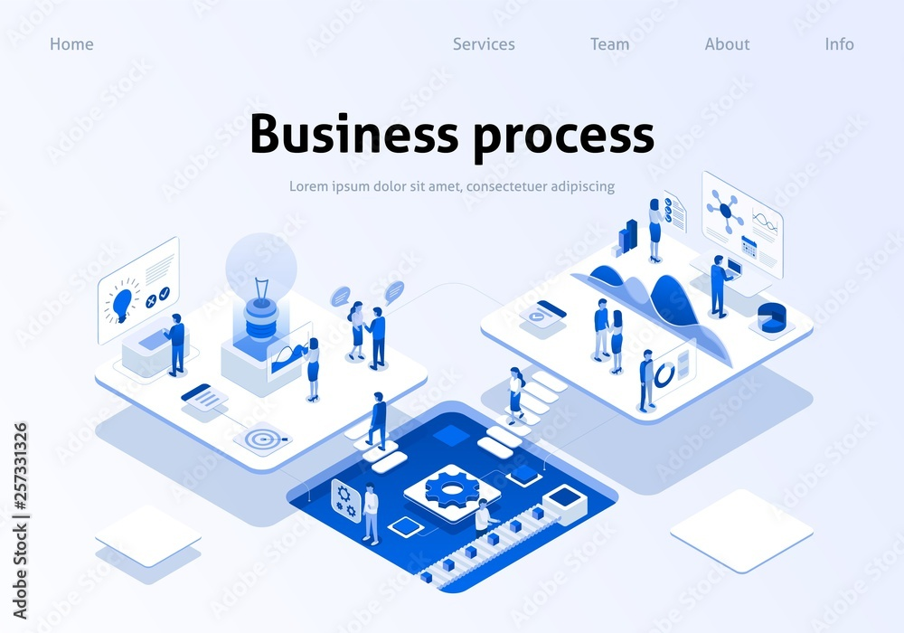 Optimized Business Process Teamwork Landing Page Canvas Print