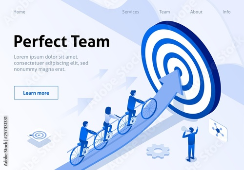 Team Movement to Goal in Tandem Isometric Banner Wallpaper Mural