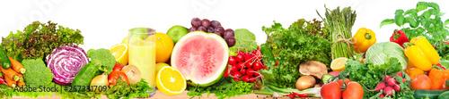 Poster Légumes frais Vegetables and fruits background