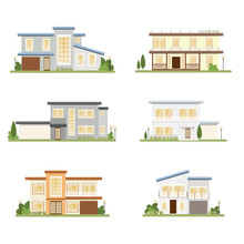 Modern Style House Collection On White Background Isolated Eps10 Vector Illustration