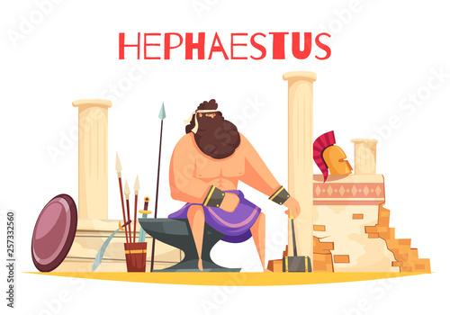 Hephaestus Cartoon Composition Wallpaper Mural