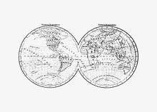 Antique World Map Drawing