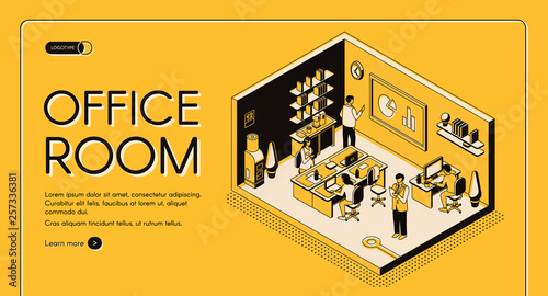 Obraz Business workplace organization and design isometric vector web banner. Company employees or entrepreneurs working together in comfortable office room illustration. Co-working center landing page - fototapety do salonu