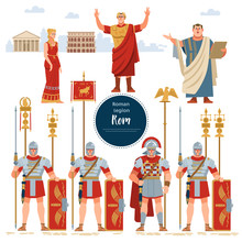Set In Ancient Rome Illustration Historic Army Infantrymen In Full Armor With Shields.