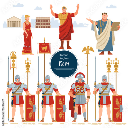 Set in ancient Rome illustration historic army infantrymen in full armor with shields Fototapeta