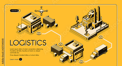 Fotomural  Business logistics service isometric vector web banner, landing page