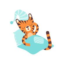 Cute Little Tiger Wearing Cap ...