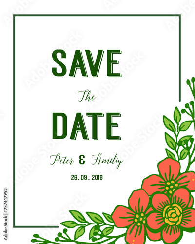 Wall Murals Retro sign Vector illustration various shape orange flower frames blooms for save the date cards