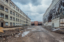 Territory Of Abandoned Industrial Area At Former Voronezh Excavator Factory Waiting For Demolition Or Reconstruction