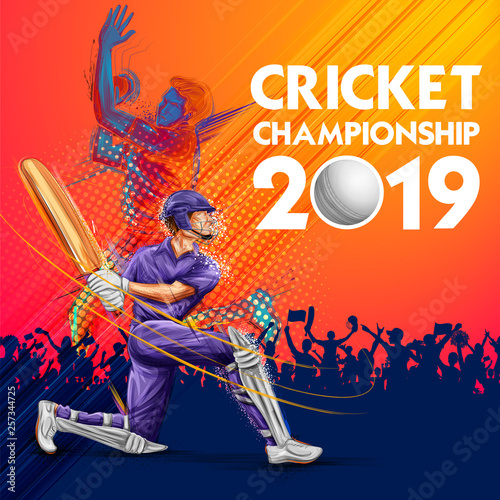 Fotografia Batsman playing cricket championship sports 2019