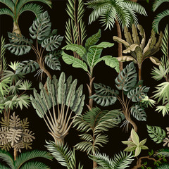 Panel Szklany Liście Seamless pattern with exotic trees such us palm, monstera and banana. Interior vintage wallpaper.