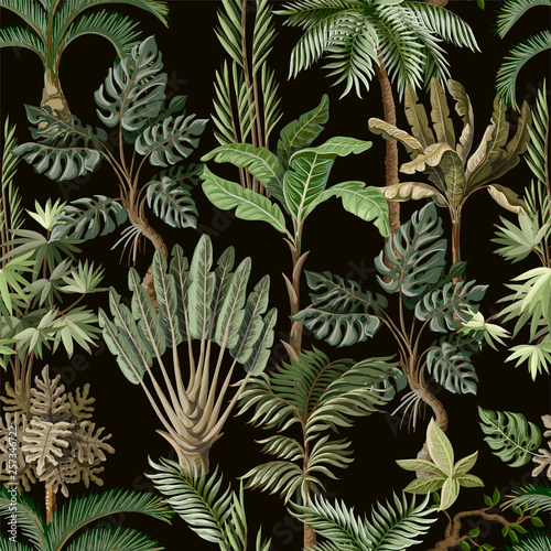 Seamless pattern with exotic trees such us palm, monstera and banana. Interior vintage wallpaper. Wall mural