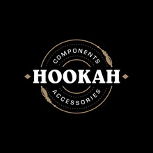 Modern Professional Logo Hookah In Gold And Black Theme