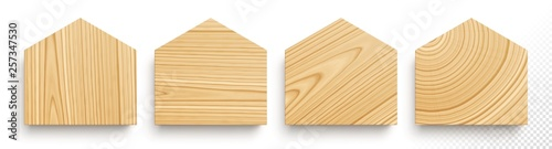 Obraz Set of wooden boards in shape of houses with different textures - fototapety do salonu