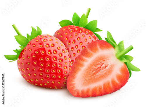 Cuadros en Lienzo strawberry isolated on white background, clipping path, full depth of field, hig