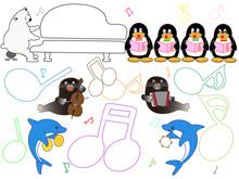 水族館の動物のショータイム。ペンギンやアザラシ、イルカたちのコンサートです。