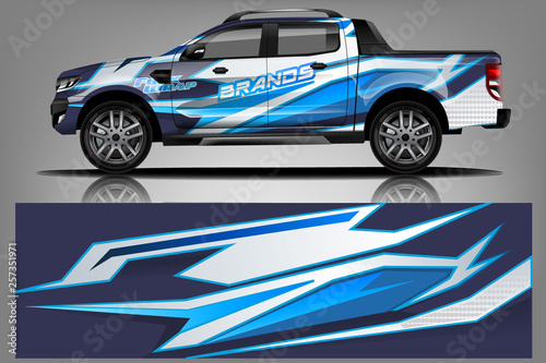 Fotografiet  truck and car decal design vector kit