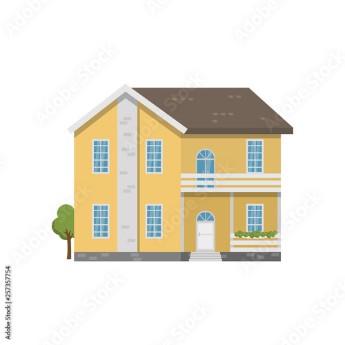 two story balcony Yellow Brick Two Story House With Balcony Above Entrance
