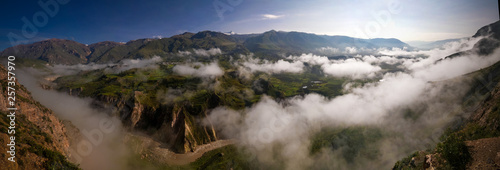 Photo  Aerial panoramic view to Colca canyon Chivay, Arequipa, Peru