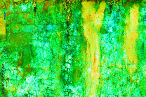 Leinwanddruck Bild - HolyLazyCrazy : Green and Yellow old paint on concrete floor