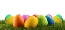 Colorful Easter Eggs Green Gra...