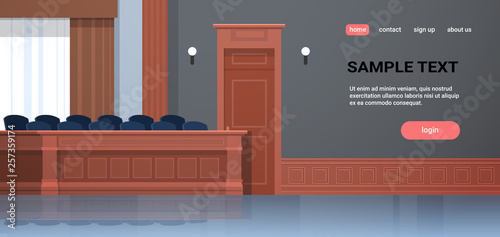 Fotografía empty jury box seats modern courtroom interior justice and jurisprudence concept