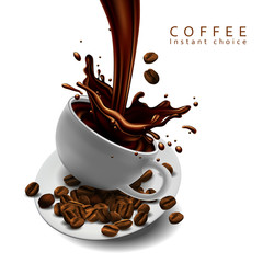 Fototapeta Kawa Coffee advertising design with cup of coffee and splash effect. 3D vector. High detailed realistic illustration,