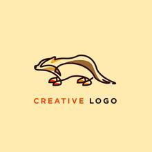 Line Art Vector Illustration Of Badger Designs, Badger Logo Designs Concept
