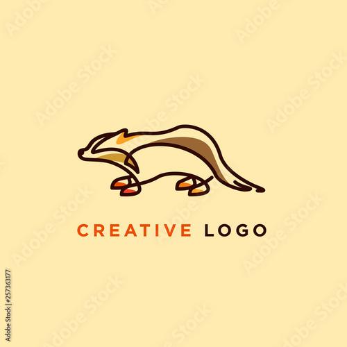 Cuadros en Lienzo line art vector illustration of badger designs, badger logo designs concept