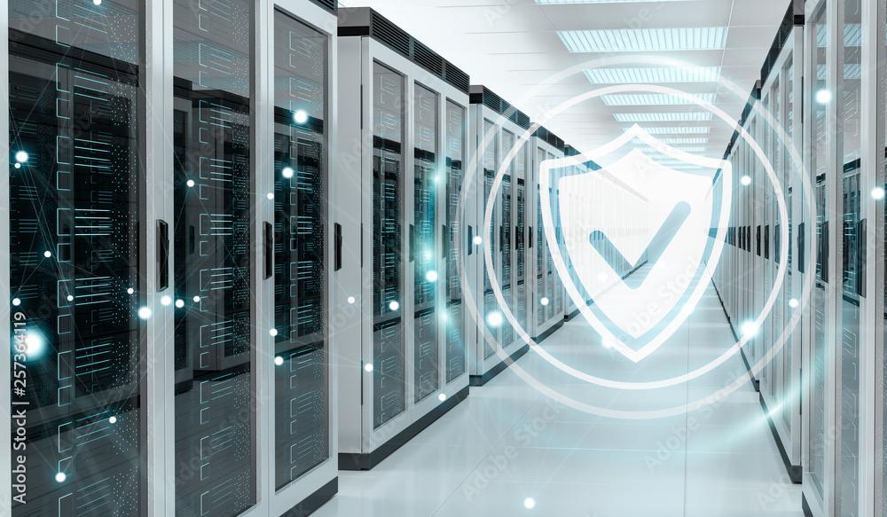 Fototapeta Firewall activated on server room data center 3D rendering