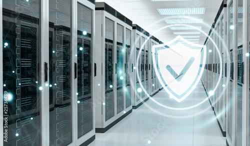 Fotomural  Firewall activated on server room data center 3D rendering