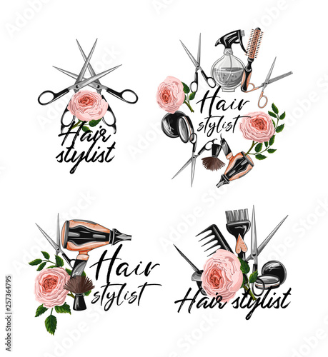 Hairdresser tools stickers such as hairdryer, comb, scissors, mirror, hair dye and other Canvas Print