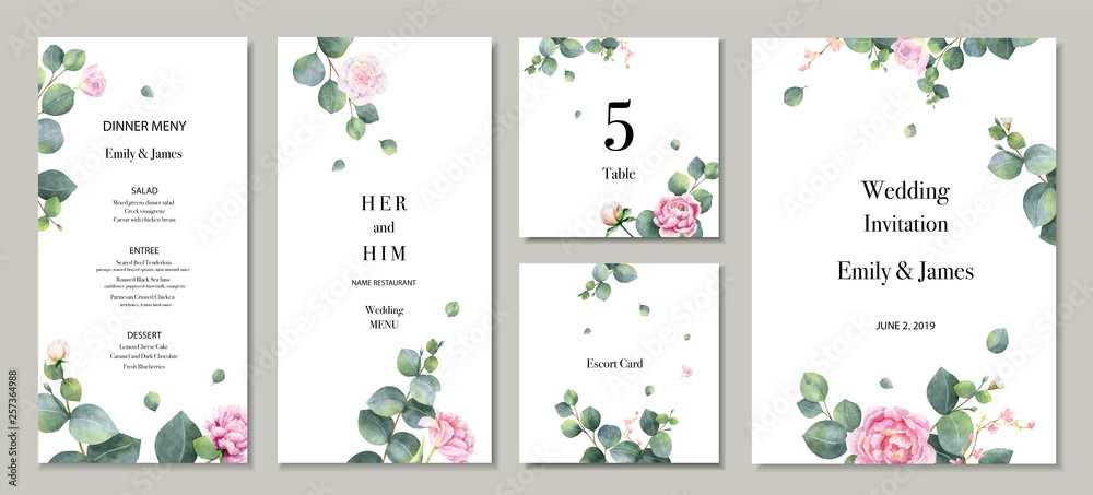 Plakat Watercolor Vector Set Wedding Invitation Card Template Design With Green Eucalyptus Leaves And Flowers