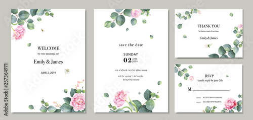Fototapeta Watercolor Vector Set Wedding Invitation Card Template Design With Green Eucalyptus Leaves And Flowers