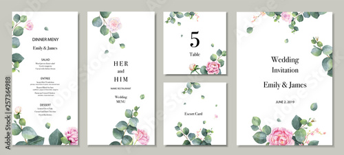Fotografie, Obraz  Watercolor vector set wedding invitation card template design with green eucalyptus leaves and flowers