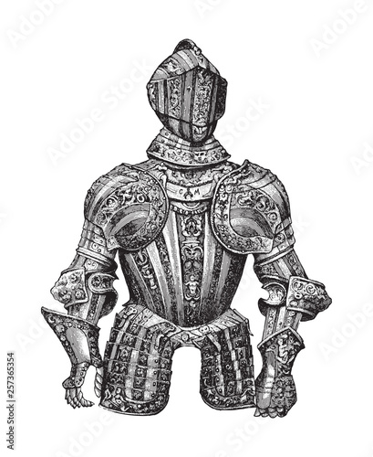 Photo Knight armour (Cuirass) / illustration from Meyers Konversations-Lexikon 1897