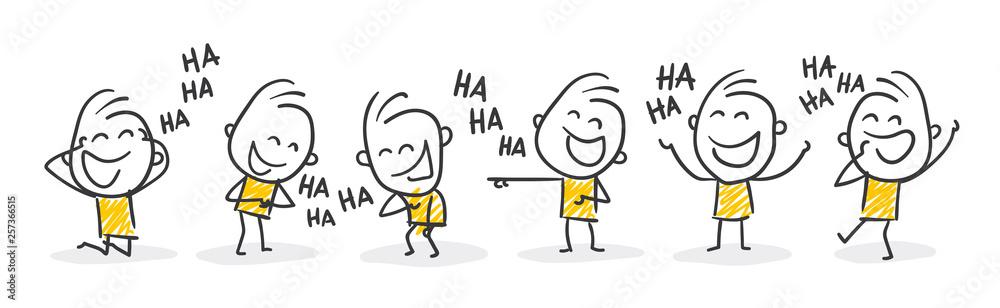Fototapeta Strichfiguren / Strichmännchen: Lachen, auslachen, Spaß. (Nr. 366)