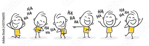 Cuadros en Lienzo Strichfiguren / Strichmännchen: Lachen, auslachen, Spaß