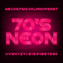 Red Neon Alphabet Font In 70s ...