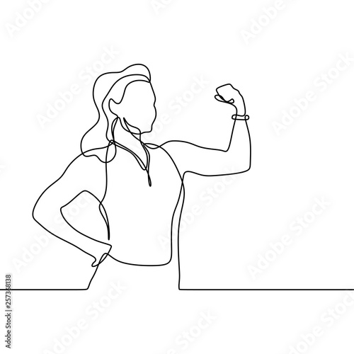 Slika na platnu Strong girl continuous one line drawing