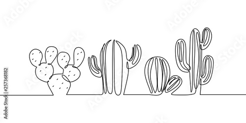 Vector Set of Cute Cactus continuous one line drawing Black and White Sketch House Plants Isolated on White Background Fototapete