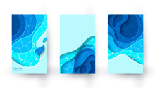 Vector Vertical Banners With Blue Paper Cut Layout Background