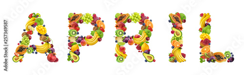 Poster Légumes frais Word april made of different fruits and berries, fruit font isolated on white background