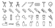 Barber Shop Icon Set (Thin Line Version)