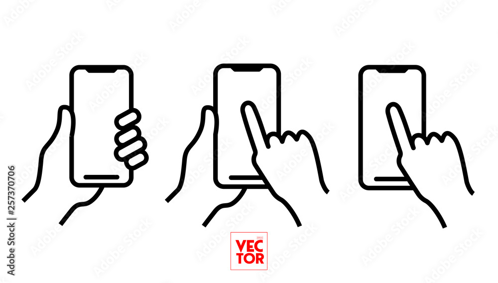 Fototapeta Mobile Phone Bold Line Icon with Hand holding smartphone