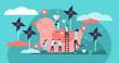 Kindergarten vector illustration. Flat tiny active children persons concept