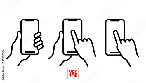 Cuadros en Lienzo Mobile Phone Bold Line Icon with Hand holding smartphone