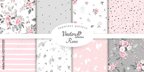 Ingelijste posters Kunstmatig set botanic and abstract seamless pattern with flowers and leaves, hand drawn background. collection floral pattern. Tile with Flower rose.