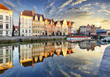 canvas print picture - Ghent town with old house at sunset, Belgium